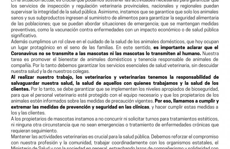 Coronavirus: Comunicado Oficial del Colegio