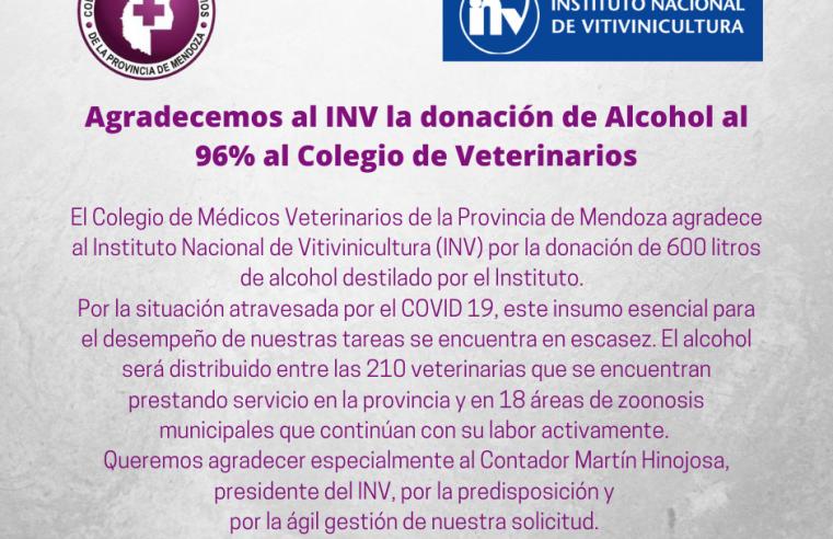El INV donó 600 litros del alcohol al Colegio de Veterinarios