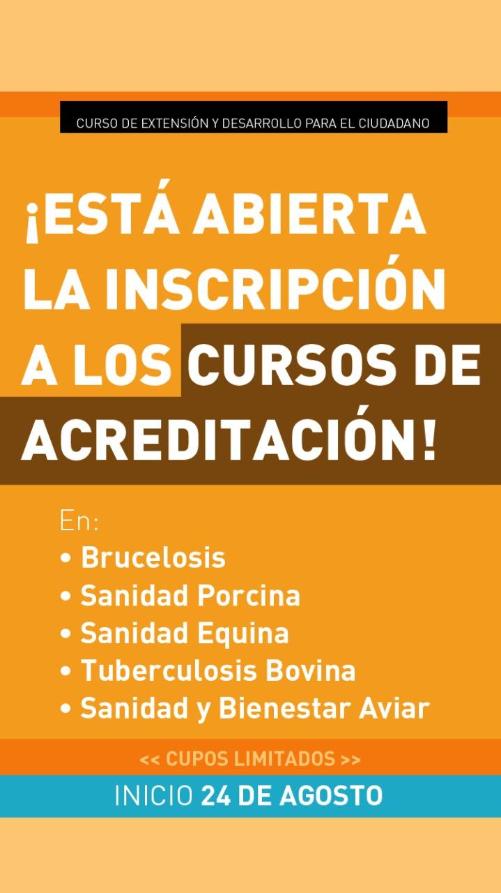 Están abiertas las inscripciones a los cursos de acreditación del SENASA