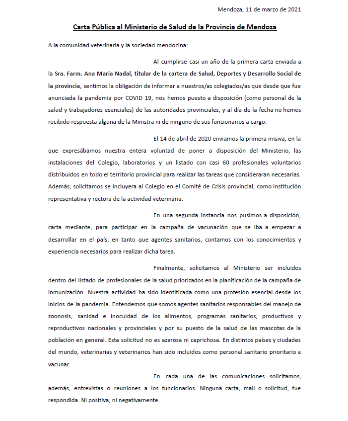 Carta Pública al Ministerio de Salud de la Provincia de Mendoza