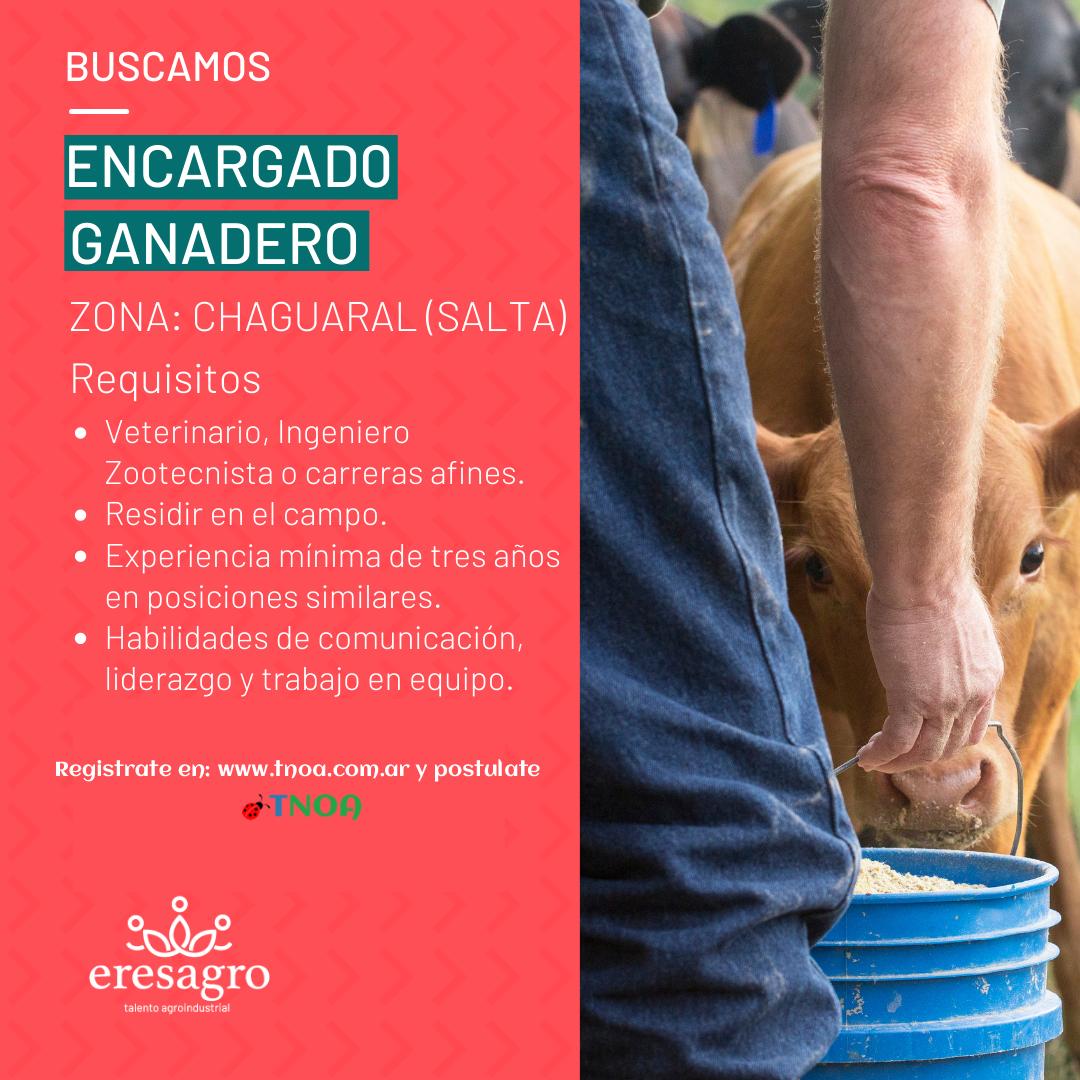 Oferta Laboral: EresAgro busca ENCARGADO GANADERO para Salta